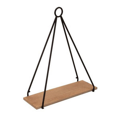 Metal Frame Triangular Wall Shelf with Ring Holder Set of 2 Brown By Casagear Home BM227315