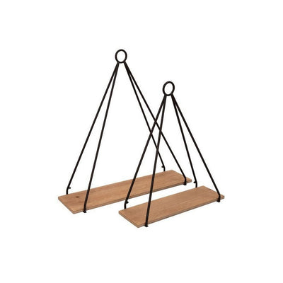 Metal Frame Triangular Wall Shelf with Ring Holder, Set of 2, Brown By Casagear Home