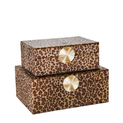 Fabric Rectangular Shaped Box with Animal Print, Set of 2, Brown By Casagear Home