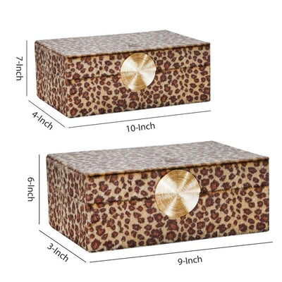 Fabric Rectangular Shaped Box with Animal Print Set of 2 Brown By Casagear Home BM227321