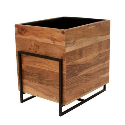 18 Inch Square Wood Planter with Metal Frame Base,Set of 2,Brown and Black By Casagear Home BM227330