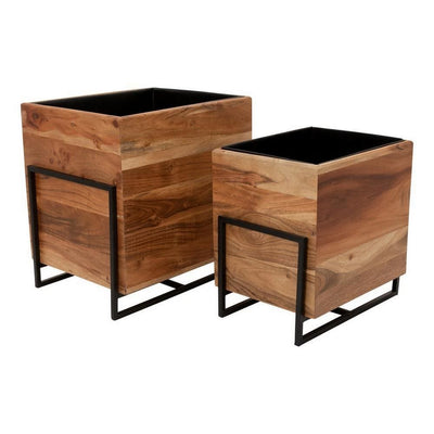 18 Inch Square Wood Planter with Metal Frame Base,Set of 2,Brown and Black By Casagear Home