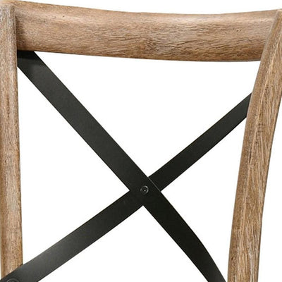 Wood and Metal Side Chair with X Open Back Set of 2 Rustic Brown and Black By Casagear Home BM227712
