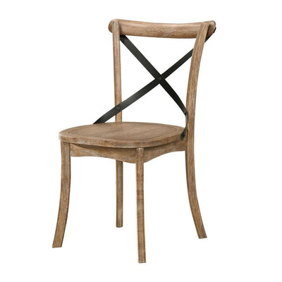 Wood and Metal Side Chair with X Open Back, Set of 2, Rustic Brown and Black By Casagear Home