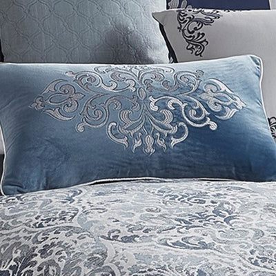 10 Piece King Polyester Comforter Set with Damask Prints Blue and Gray By Casagear Home BM227743