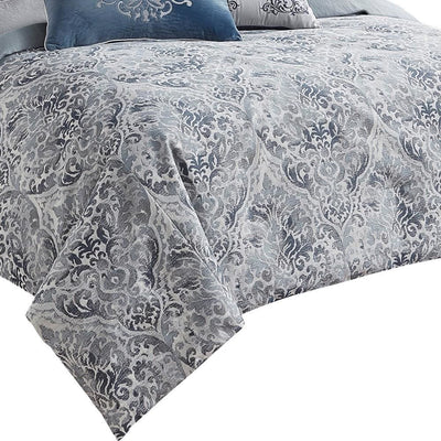 9 Piece Queen Polyester Comforter Set with Damask Prints Blue and Gray By Casagear Home BM227744