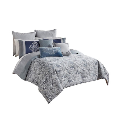 9 Piece Queen Polyester Comforter Set with Damask Prints, Blue and Gray By Casagear Home
