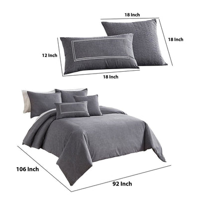 6 Piece King Cotton Comforter Cover Set with Cross Woven Texture Gray By Casagear Home BM227747