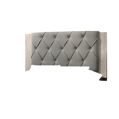 Wooden Queen Bed with Button Tufted Upholstered Headboard Gray and Cream By Casagear Home BM228554