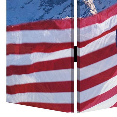 American Flag Printed Wood and Canvas 3 Panel Screen Multicolor By Casagear Home BM228608
