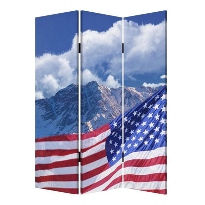 American Flag Printed Wood and Canvas 3 Panel Screen, Multicolor By Casagear Home