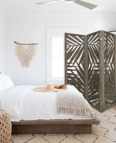 3 Panel Wooden Screen with Laser Cut Tropical Leaf Design Gray By Casagear Home BM228617