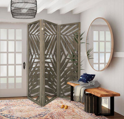 3 Panel Wooden Screen with Laser Cut Tropical Leaf Design, Gray By Casagear Home