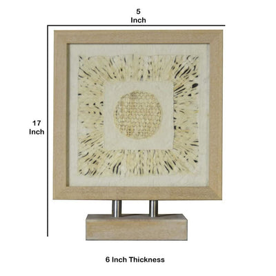Wooden Tabletop Shadow Box with Abstract Artwork Brown By Casagear Home BM228623