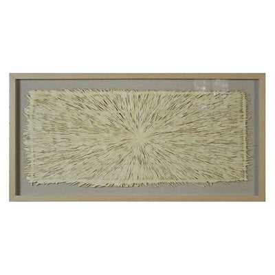 Rectangular Wooden Shadow Box with Fiber Accent Artwork, Brown and Cream By Casagear Home