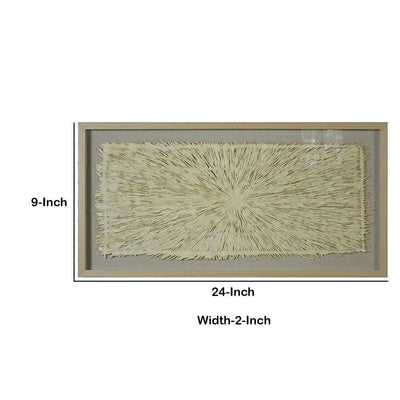 Rectangular Wooden Shadow Box with Fiber Accent Artwork Brown and Cream By Casagear Home BM228628