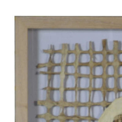 Wooden Shadow Box with Abstract Weaving Pattern Brown and Cream By Casagear Home BM228629