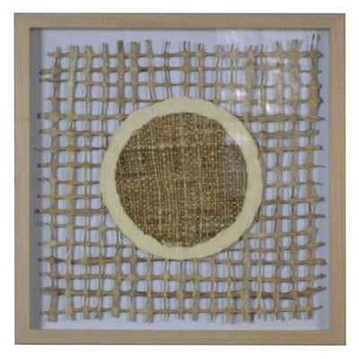 Wooden Shadow Box with Abstract Weaving Pattern, Brown and Cream By Casagear Home