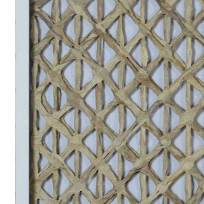 Wooden Shadow Box with Abstract Interweaving Pattern Gray and Cream By Casagear Home BM228633