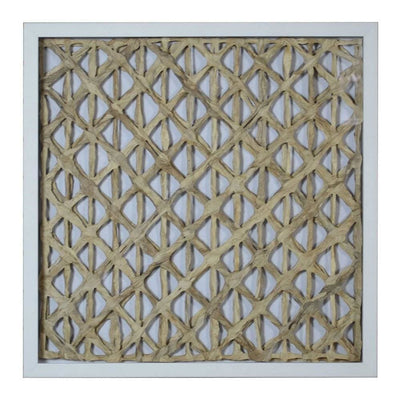 Wooden Shadow Box with Abstract Interweaving Pattern, Gray and Cream By Casagear Home