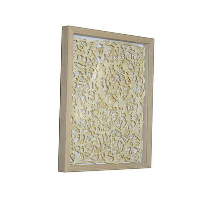 Wooden Shadow Box with Abstract Knot Pattern, Brown and Cream By Casagear Home