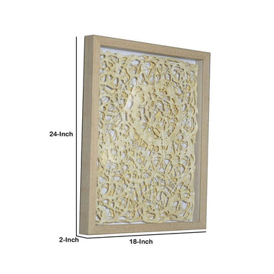 Wooden Shadow Box with Abstract Knot Pattern Brown and Cream By Casagear Home BM228636