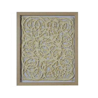 Wooden Frame Shadow Box with Abstract Knot Pattern, Brown and Cream By Casagear Home