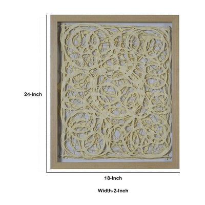 Wooden Frame Shadow Box with Abstract Knot Pattern Brown and Cream By Casagear Home BM228637