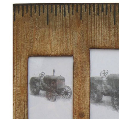 Rectangular Distressed Wooden Frame with 4 Photo Slots Brown By Casagear Home BM228641