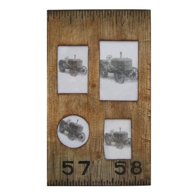 Rectangular Distressed Wooden Frame with 4 Photo Slots, Brown By Casagear Home