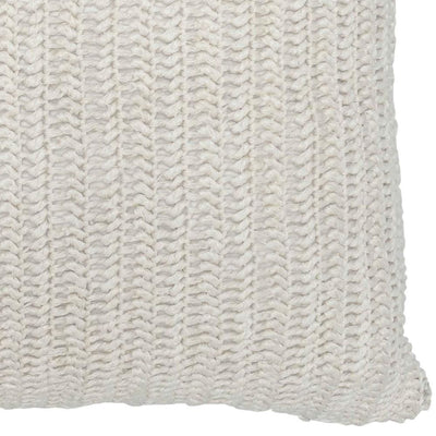 22 x 22 Throw Pillow with Hand Knit Details White By Casagear Home BM228828