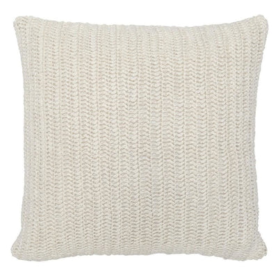 "22 x 22"" Throw Pillow with Hand Knit Details, White By Casagear Home"