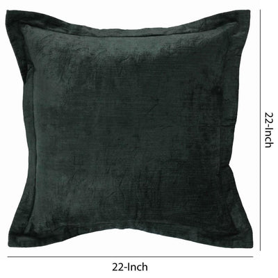 22 x 22 Fabric Throw Pillow with Flanged Edges Green By Casagear Home BM228835