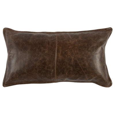 Leatherette Throw Pillow with Stitched Details, Dark Brown By Casagear Home