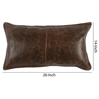 Leatherette Throw Pillow with Stitched Details Dark Brown By Casagear Home BM228843