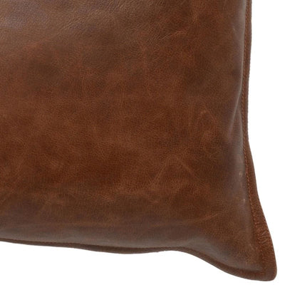 Leatherette Throw Pillow with Stitched Details Brown By Casagear Home BM228844