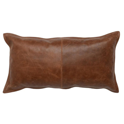 Leatherette Throw Pillow with Stitched Details, Brown By Casagear Home