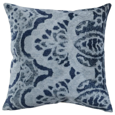 "20 x 20"" Throw Pillow with Damask Pattern, Gray & Blue By Casagear Home"