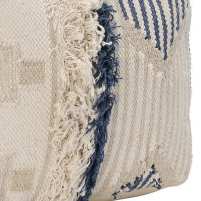 18 x 14 Woven Fabric Pouf Ottoman with Fringes Cream & Blue By Casagear Home BM228877