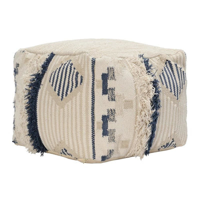 "18 x 14"" Woven Fabric Pouf Ottoman with Fringes, Cream & Blue By Casagear Home"