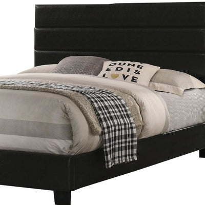Leatherette Upholstered Full Bed with Panel Headboard Black By Casagear Home BM229064