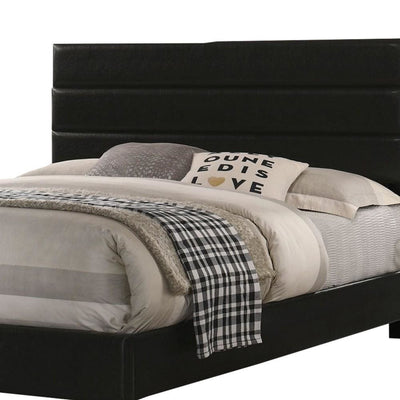 Leatherette Upholstered Queen Bed with Panel Headboard Black By Casagear Home BM229065