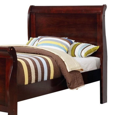 Twin Size Wooden Sleigh Bed with Panel Legs Cherry by Casagear Home BM229171