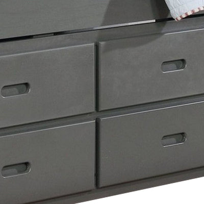3 Drawer Mission Style Twin Captain Bed with Trundle Gray By Casagear Home BM229220