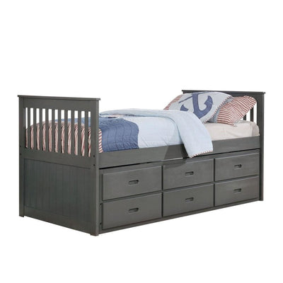 3 Drawer Mission Style Twin Captain Bed with Trundle, Gray By Casagear Home