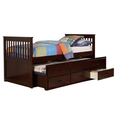 3 Drawer Mission Style Twin Captain Bed with Trundle,Brown By Casagear Home BM229221