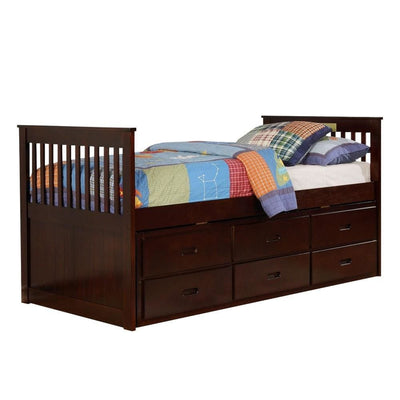 3 Drawer Mission Style Twin Captain Bed with Trundle,Brown By Casagear Home