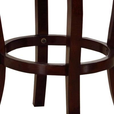 47 Wooden Bar Height Stool with Swivel Mechanism Brown by Casagear Home BM229249