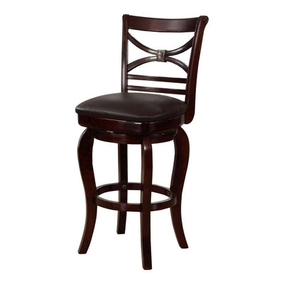 "47"" Wooden Bar Height Stool with Swivel Mechanism, Brown by Casagear Home"