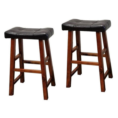 29 Leatherette Seat Bar Height Stool Set of 2 Brown by Casagear Home BM229251
